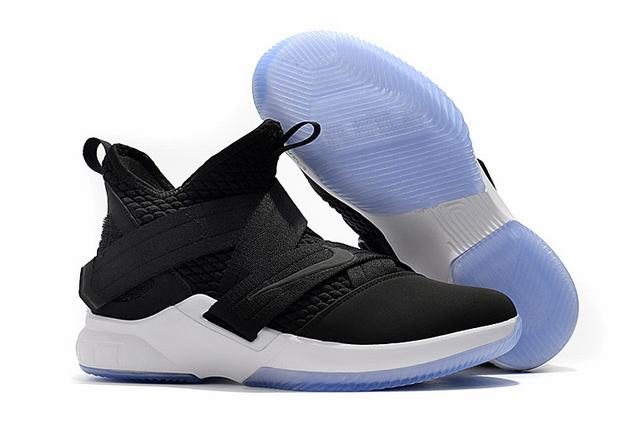 Nike Lebron James Soldier 12 Shoes Black White Black-logo